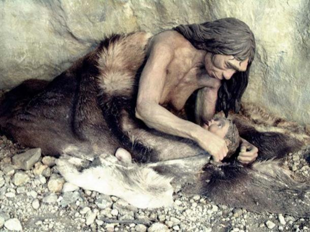 Neanderthal mother and child (Anthropos Pavilion, Brno, Czech Republic)