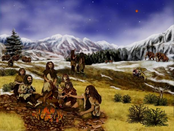 Artist's representation of a group of Neanderthals around a fire.