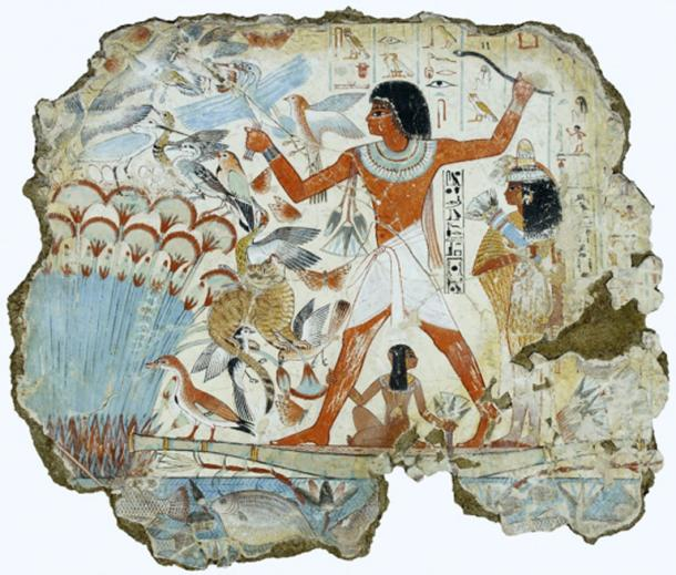 Nebamun, a middle-ranking official 'scribe and grain accountant' during the New Kingdom is shown hunting in the marshes, in a scene from his tomb-chapel. His name was translated as 'My Lord is Amun', and his association with the temple, coupled with the importance of grain supplies to Egypt, meant that he was a person of considerable practical importance. British Museum.