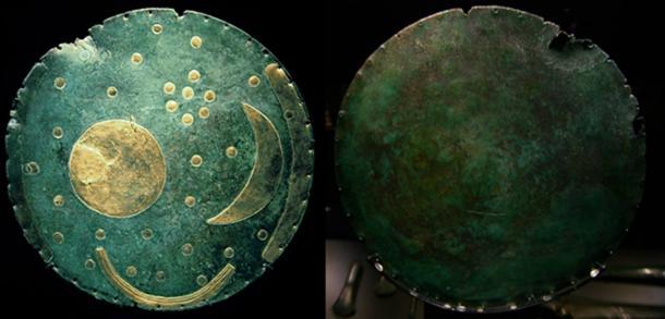 Front (DBachmann/CC BY SA 3.0) and back (Patrik Tschudin/CC BY 2.0) of the Nebra Sky Disk.