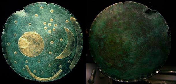 Front (DBachmann/CC BY SA 3.0) and back (Patrik Tschudin/CC BY 2.0) of the Nebra Sky Disk.