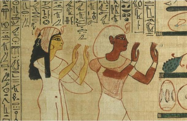 Nedjmet and Herihor honoring the god Osiris in the afterlife, Book of the Dead papyrus of Nodjmet ( 1050 BC), British Museum
