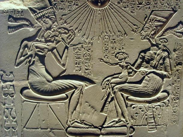 Akhenaten, Nefertiti and their children bask in the rays of the sun, Aten, a god that Akhenaten raised above all others.