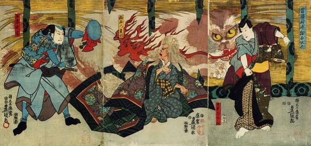 A Nekomata tormenting humans and starting a fire. (1847) Utagawa Kunisada