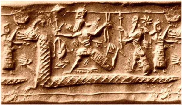 Neo-Assyrian cylinder seal impression from the eighth century BC identified by several sources as a possible depiction of the slaying of Tiamat from the Enûma Eliš. (Ben Pirard/CC BY SA 3.0)