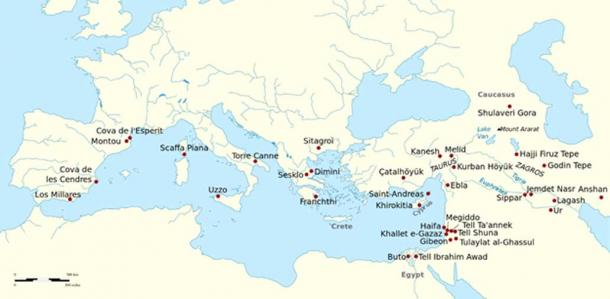 Archaeological sites of the Neolithic, Copper Age, and early Bronze Age in which vestiges of wine and olive growing have been found.