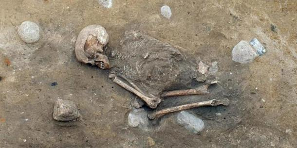 This Neolithic skeleton of a woman was found buried in the fetal position in Germany. (Image: Archaeros)