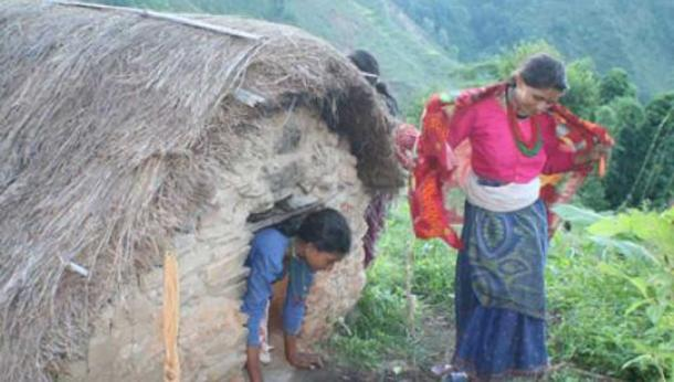 Nepalese women leaving a menstruation hut