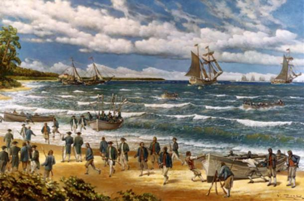 New Providence Raid, March 1776 by V. Zveg, 1973, depicting Continental Sailors and Marines landing on New Providence Island, Bahamas (Public Domain)