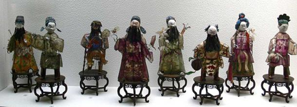 New Year's Lamps representing the Eight Immortals, China, Qing Dynasty, 19th century; buffalo horn, colored and painted