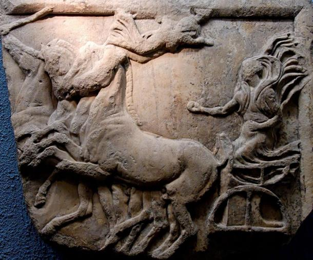 Nike rides a chariot to victory in this relief from ancient Greece; the sport was popular all over the Classical world.