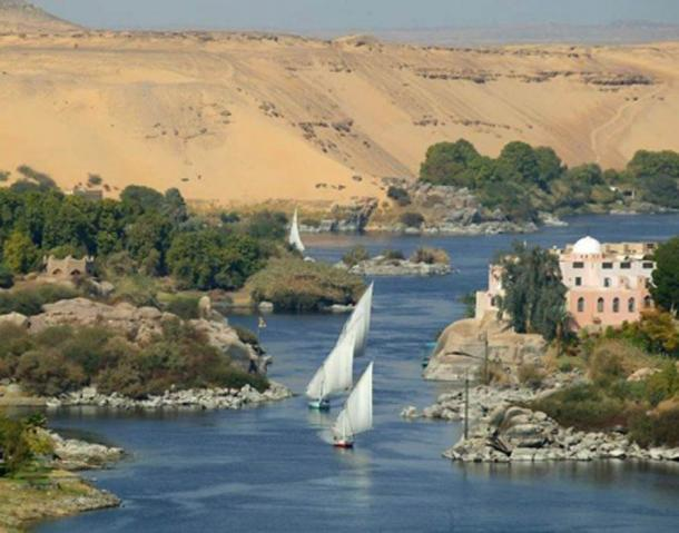 The Nile river at Aswan, Egypt.