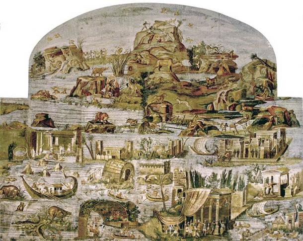 Nile mosaic from Palestrina (present state). Museo Nazionale Palestrina, Italy. (Public domain)