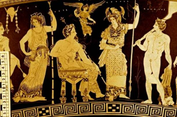On a vase from about 430 BC, Nimrod/Herakles joins his immortal ancestors Naamah/Athena, Adam/Zeus, Eve/Hera, and Cush/Hermes on Mount Olympus.