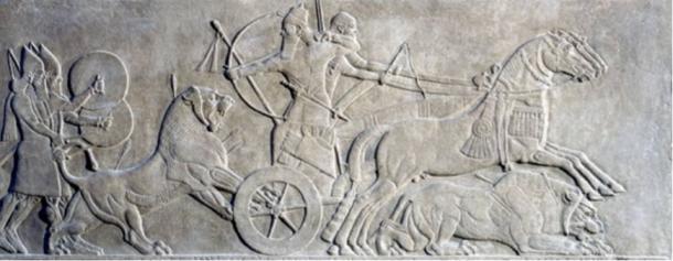 Nimrud Relief: King Ashurnasirpal II Hunting Lions, (883-859 BCE)