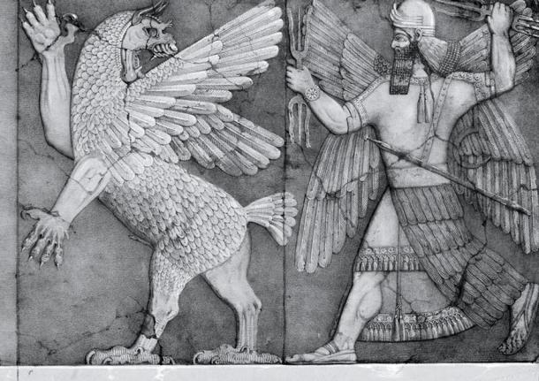 Ninurta with his thunderbolts pursues Anzû, who has stolen the Tablet of Destinies from Enlil's sanctuary. (Austen Henry Layard Monuments of Nineveh, 2nd Series, 1853).