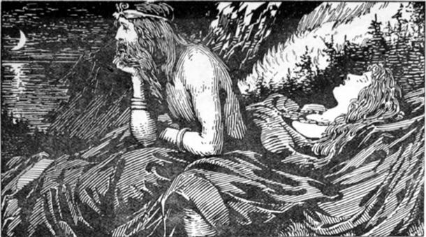 Njörd's desire of the Sea (1908) by W. G. Collingwood