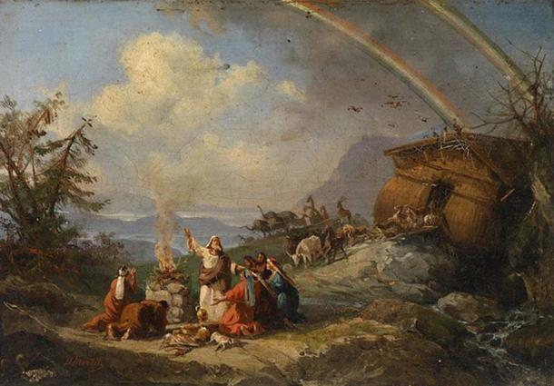 Noah and his companions give thanks after the flood. By Domenico Morelli.