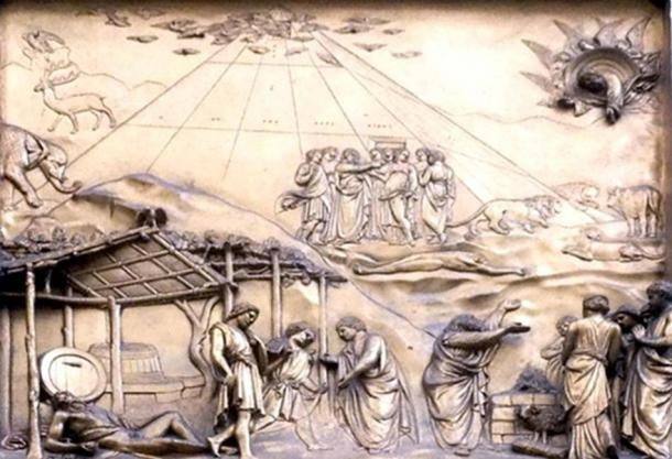 A panel from the door of the Baptistery in Florence, which appears to show Noah's Ark as a pyramid.