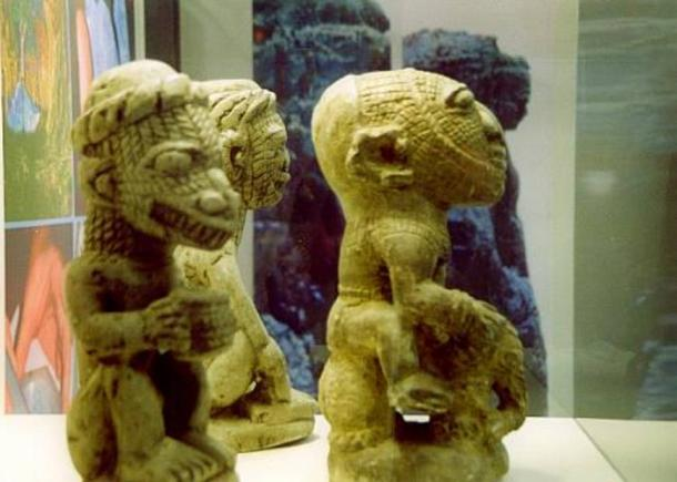Left: Nomoli figure with lizard head and human body. Right: Human figure riding an elephant, in disproportionate size