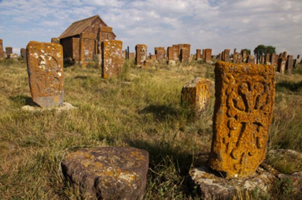 Noratus Cemetery were the monk Ter Karapet Hovhanesi-Hovakimyan built his cell among the khachkars. (Maroš Markovič / Adobe Stock)