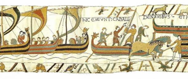 Normans landing in England. Scene from the Bayeux Tapestry, depicting ships coming in and horses landing. (Public Domain)