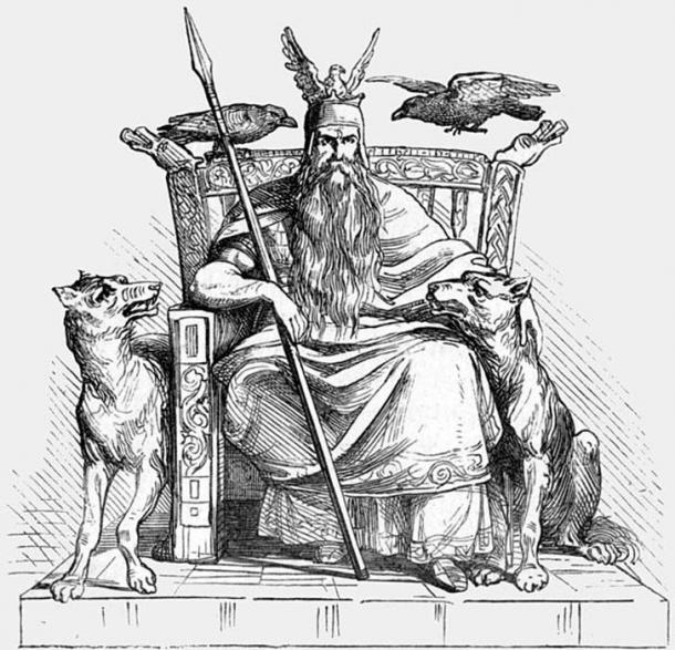 The Norse god Odin enthroned, flanked by his two wolfs, Geri and Freki, and his two ravens, Huginn and Muninn, and holding his spear Gungnir.