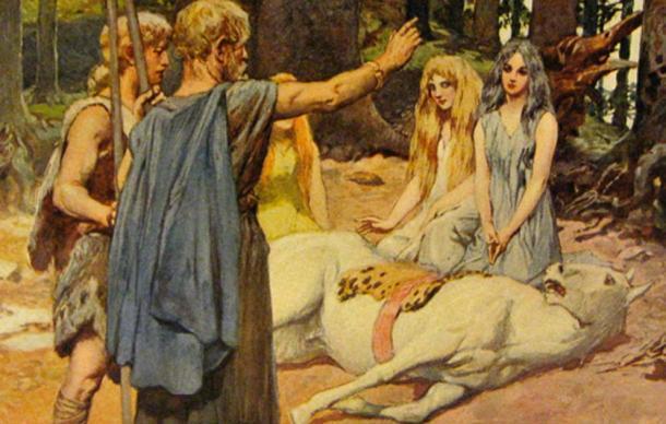 """In Norse mythology, using a magical incantation, """"Wodan Heals Balder's Horse"""" (1905) by Emil Doepler."""