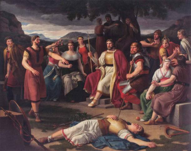 The AEsir Norse gods gathered around the dead body of Baldr. Höd, Baldr's blind brother, is standing on the left, stretching his arms out. On the very left, Loki tries to conceal his smile. Odin is sitting in the middle of the Æsir. Thor is on his left. (Christoffer Wilhelm Eckersberg / Public domain)