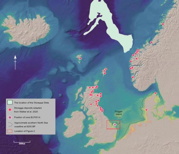 The North Sea, Storegga underwater landslide event run-out, and associated deposit locations