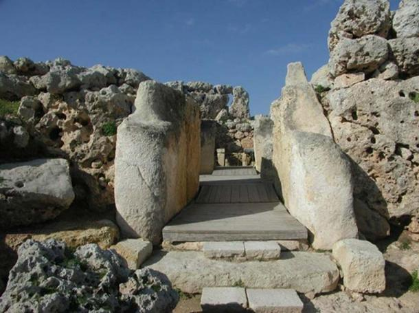 North Temple entrance at the Ġgantija megalithic complex, Gozo.