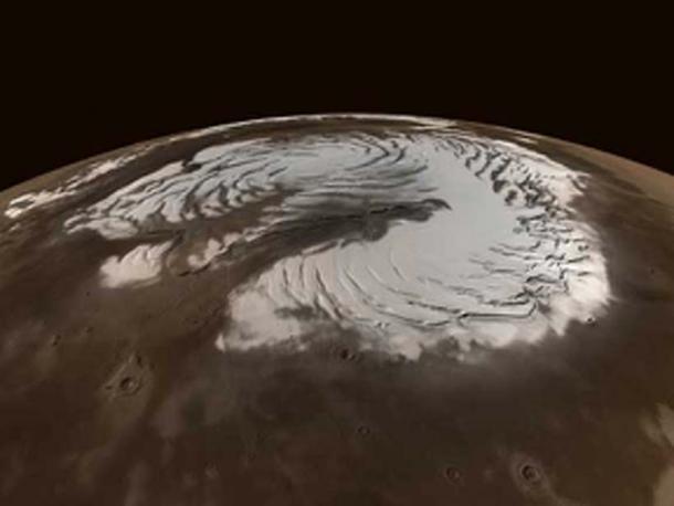 Northern polar ice cap on Mars. Does the ice hold frozen lifeforms? (Fabio Bettani / Public Domain)