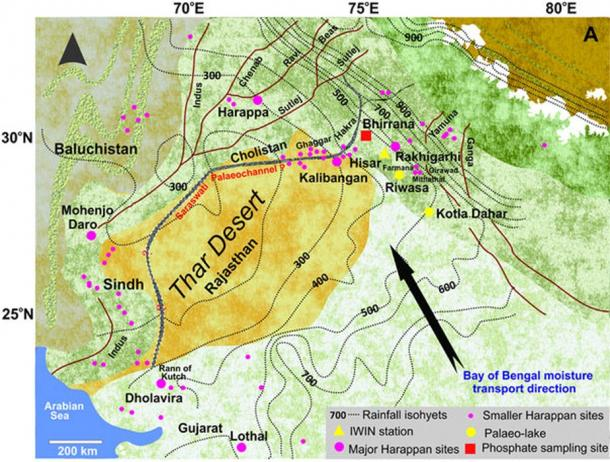 Map of Northwest India and Pakistan showing the locations of main Harappan settlements including phosphate sampling site of Bhirrana, Haryana, IWIN precipitation sampling station at Hisar and two paleo-lakes Riwasa and Kotla Dahar studied earlier. Black arrow indicates the direction of monsoon moisture transport from Bay of Bengal.