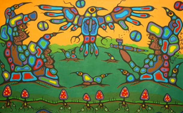 Norval Morrisseau: Untitled, acrylic on canvas (1983).