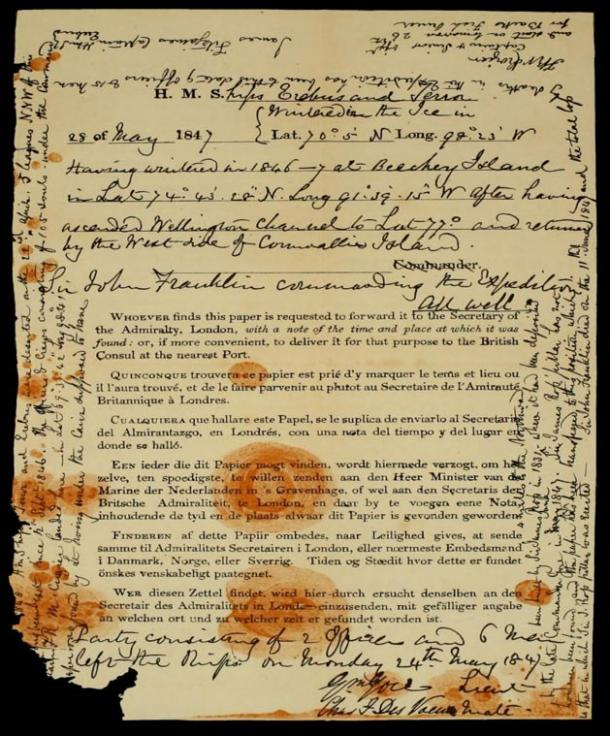 Note found by Francis Leopold McClintock's Expedition team in a cairn on King William Island in 1859, detailing the fate of the Franklin Expedition.