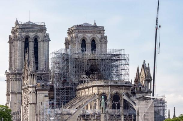 Notre Dame cathedral, reinforcement work in progress after the fire, to prevent the cathedral from collapsing