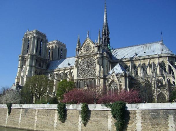 Notre-Dame de Paris before the fire, restored in the 19 century by architect Eugène Viollet-Le-Ducin