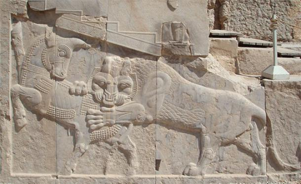 Bas-relief in Persepolis - a symbol Zoroastrian Nowruz - in day  of a spring equinox power of eternally fighting bull (personifying the  Earth), and a lion (personifying the Sun), are equal. ( Wikimedia Commons )