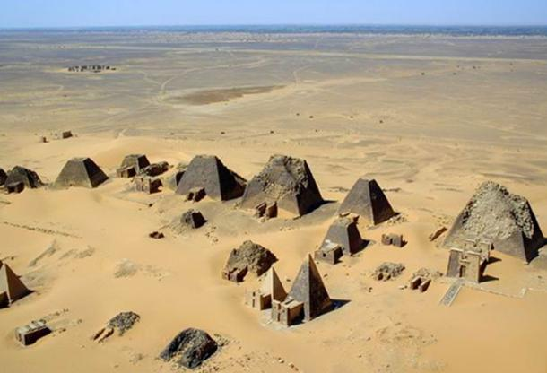 Aerial view at Nubian pyramids, Meroe