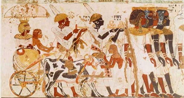 Nubians bringing tribute to the Pharaoh, from the tomb of Huy. (Image: Exploring Africa )