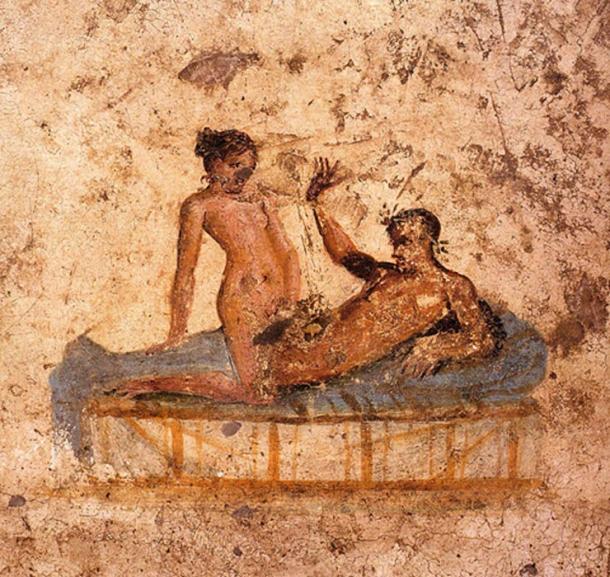 Nude couple in bed. Roman fresco from the Casa del ristorante (IX.5.14, room f, western wall) in Pompeii. Ca. 62-79 AD.