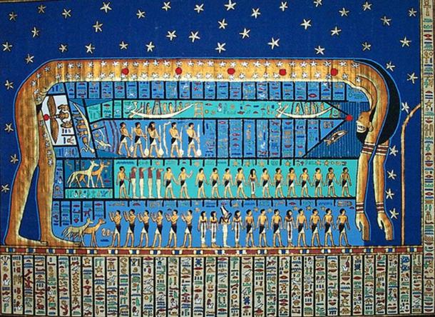 Nut, goddess of sky and heavenly bodies in Ancient Egypt.