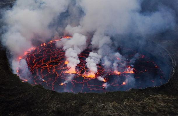 Nyiragongo is an active stratovolcano with an elevation of 3,470 meter (11,380 feet) in the Virunga Mountains associated with the Albertine Rift inside Virunga National Park in the Democratic Republic of the Congo. Nyiragongo and nearby Nyamuragira are together responsible for 40 percent of Africa's historical volcanic eruptions. (Cai Tjeenk Willink/ CC BY-SA 3.0)