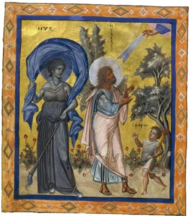 Nyx, as represented in the 10th-century Paris Psalter at the side of the Prophet Isaiah.