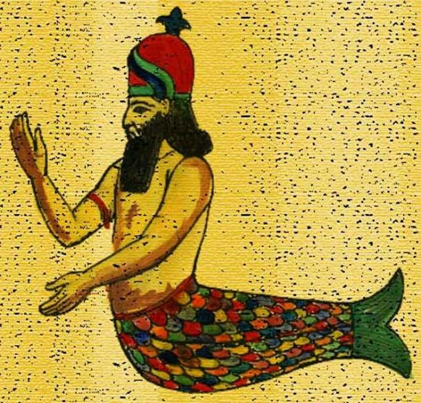 """Semitic god Dagon, drawing based on the """"Oannes"""" relief at Khorsabad"""