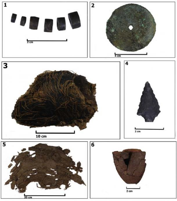 Objects associated to the perinate burial at Alero Ampahuasi – A16. 1. Lithic beads; 2. Copper metal pendant; 3. Wool turban (dated by 14C); 4. Lithic projectile point; 5. Fragments from spiral-technique basket (dated by 14C); 6. Pumpkin container. (Niemeyer et al. 2018)