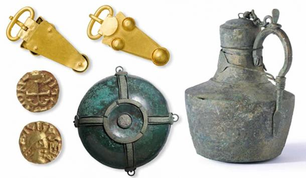 Objects found at the Prittlewell burial site include a gold belt buckle, a copper alloy flagon from the Mediterranean, a decorative hanging bowl, and gold coins. (MOLA)