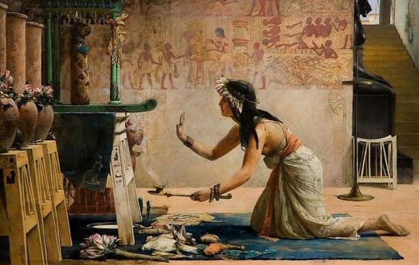 'The Obsequies of an Egyptian Cat' by John Reinhard Weguelin, 1886. A priestess offers gifts of food and milk to the spirit of a cat.
