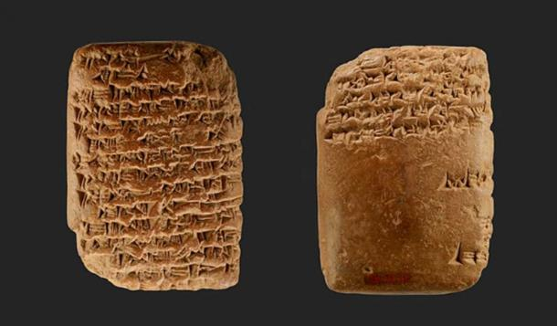 Obverse (CC0) and reverse (CC0) of an Amarna letter: Royal Letter from Ashur-uballit, the king of Assyria, to the king of Egypt.