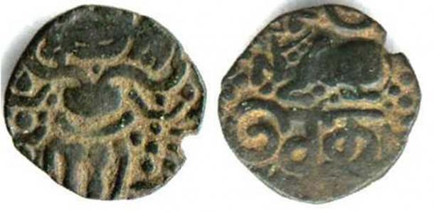 Obverse (Public Domain) and reverse (Public Domain) of a Setu coin.